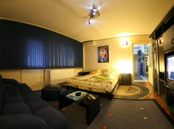 Cheap apartment 5 short term rentals Timisoara (Vidican), living room with sofa bed and third double bed (D3)