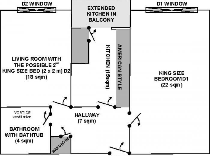 Short term rentals Vidican flat in Timisoara, Flat's blueprint